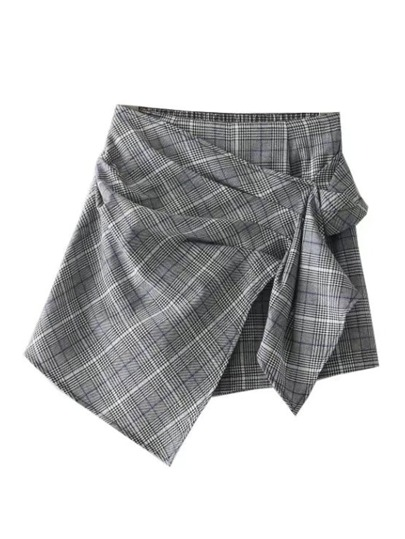 Asymmetrical Wrap Plaid Skort