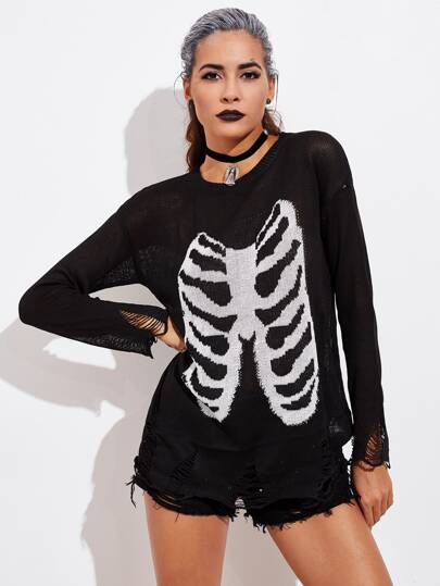 Halloween Skeleton Frayed Jumper