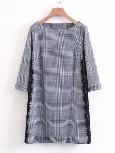 Lace Insert Plaid Dress