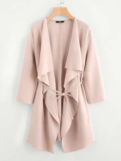 Manteau portefeuille col cascade avec poche avant