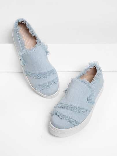 Raw Trim Denim Slip On Plimsolls