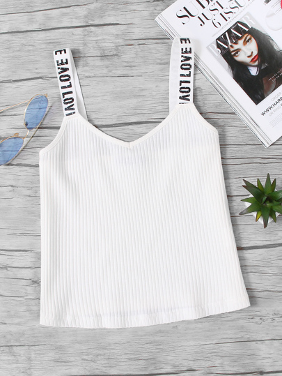 Rib Knit Printed Thick Strap Cami Top