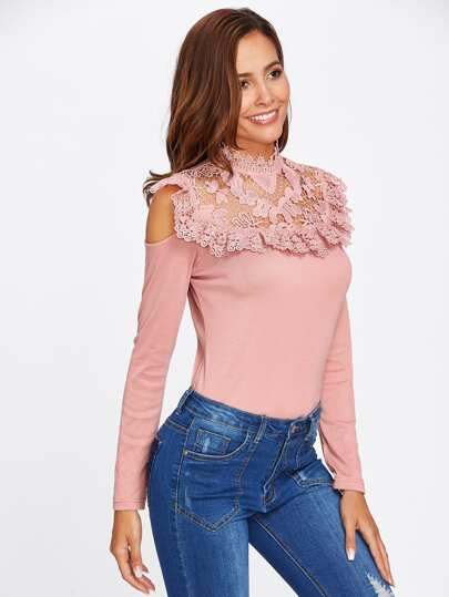 Open Shoulder Floral Lack Yoke Tee
