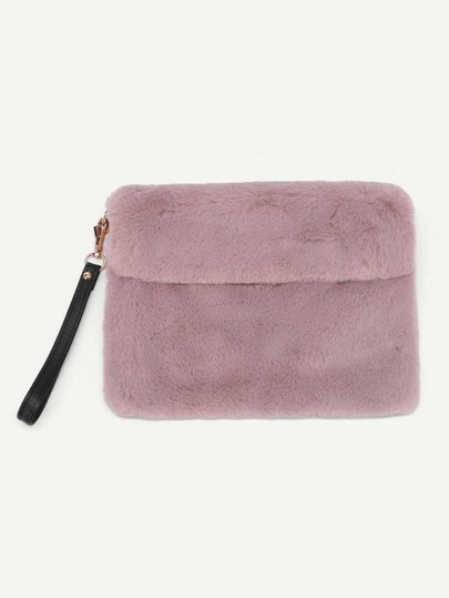 Faux Fur Clutch Bag With PU Strap