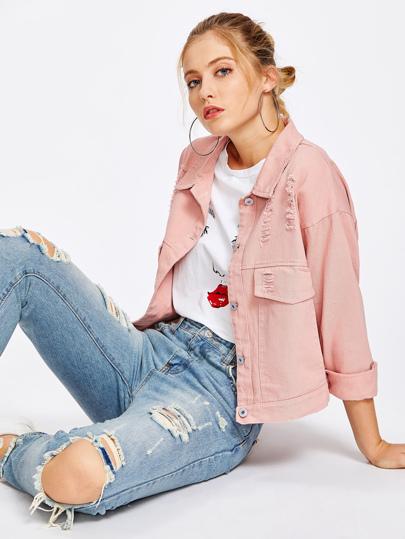 Jeans Jacke mit Rissen und Einreihig