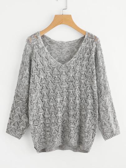Suéter tejido abierto escote V