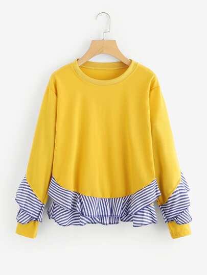 Contrast Striped Frill Trim Sweatshirt