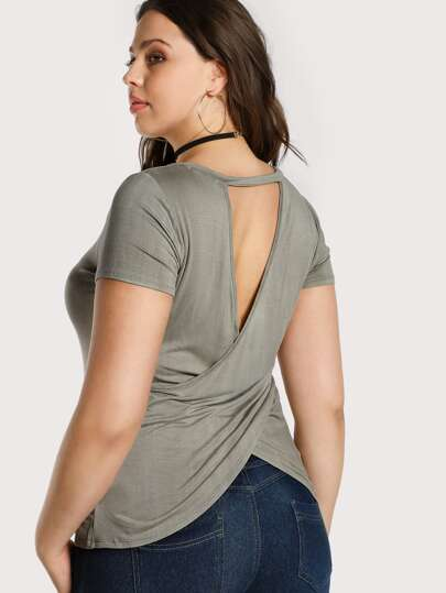 Criss Cross Back Cut Out Tee STONE