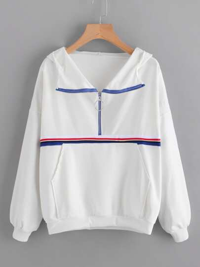Zipper Front Kangaroo Pocket Hooded Sweatshirt