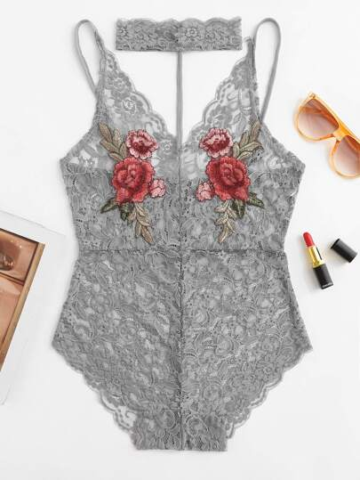 Embroidered Rose Applique Lace Teddy