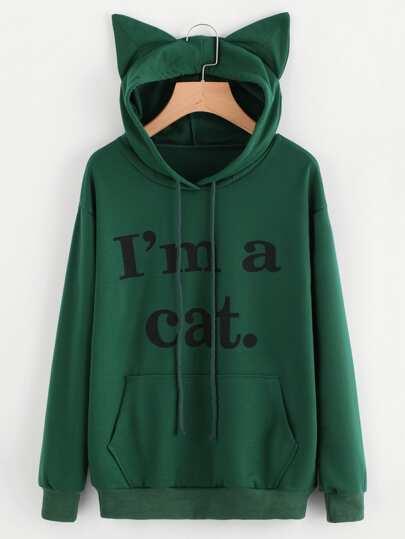Sweat encapuchonné imprimé slogan avec oreille de chat
