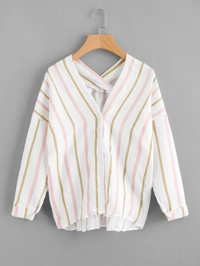 Drop Shoulder Striped Blouse