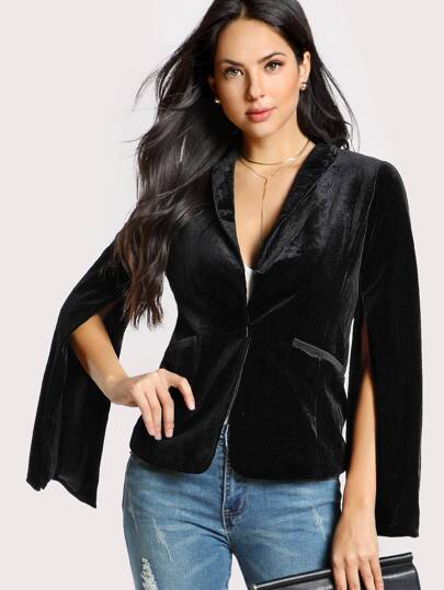 Velvet Padded Shoulder Blazer BLACK