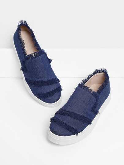 Zapatillas en denim con ribete deshilachado