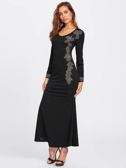 Flower Rivet Fishtail Dress
