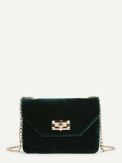 Twist Lock Velvet Flap Crossbody Bag
