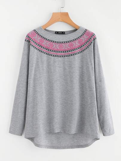 Tribal Embroidered High Low Heathered T-shirt