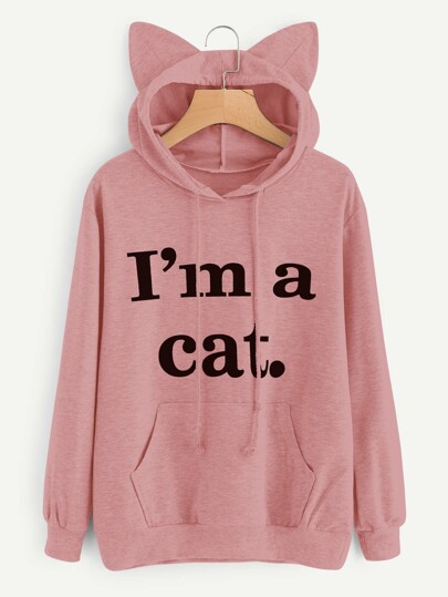 Sweat à capuche martelé en forme des oreilles du chat imprimé du slogan