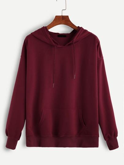 Sweat-shirt en capuche avec lacet - rouge