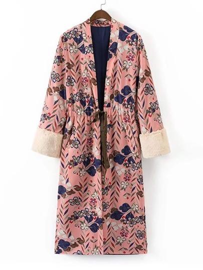 Kimono contrasté poignet en cuir faux avec un lacet