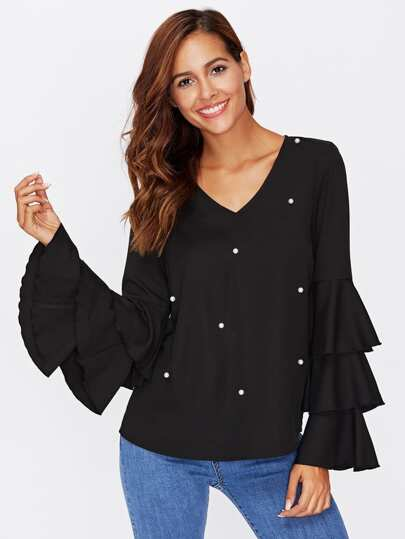 Pearl Detail Layered Frill Sleeve Top