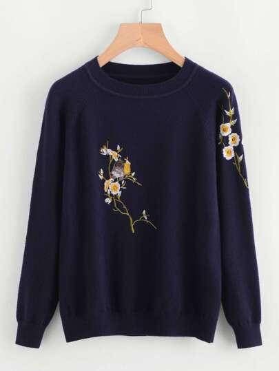 Jersey con bordado de flor