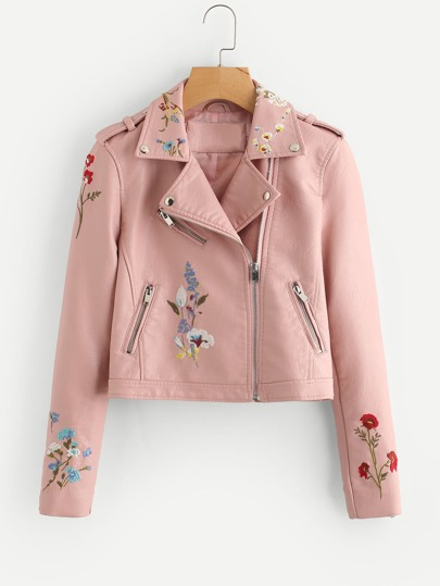 Botanical Embroidered Zipper Detail Faux Leather Biker Jacket