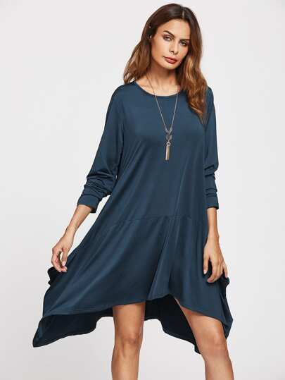 Asymmetrical Hem Swing Dress