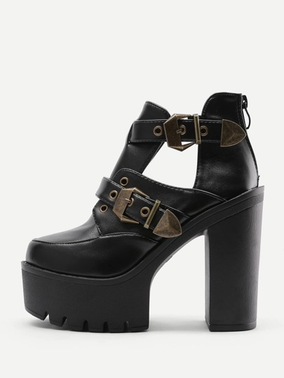 Double Buckle Strap Platform Heeled Boots