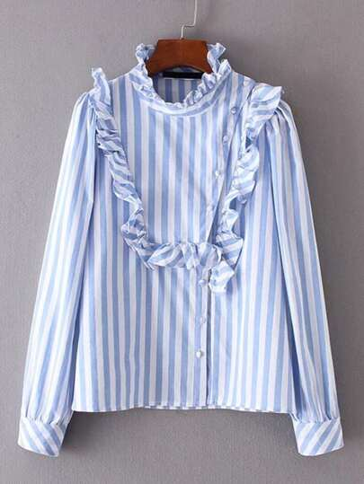Ruffle Detail Oblique Button Striped Blouse