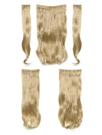 5 piezas de extensión para el pelo ondulado rubio