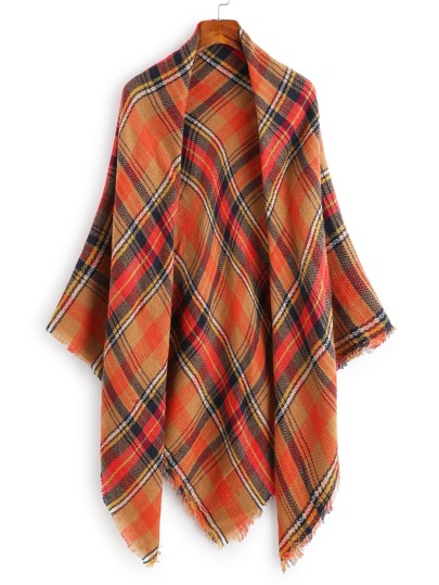 Plaid Print Frayed Trim Scarf