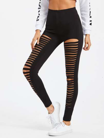 Laddering Cut Front Leggings