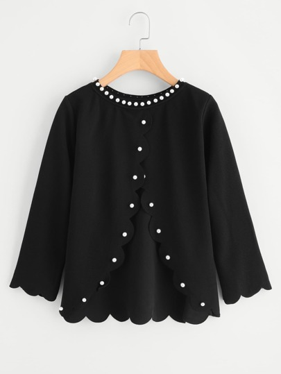 Pearl Beading Overlap Back Scalloped Top