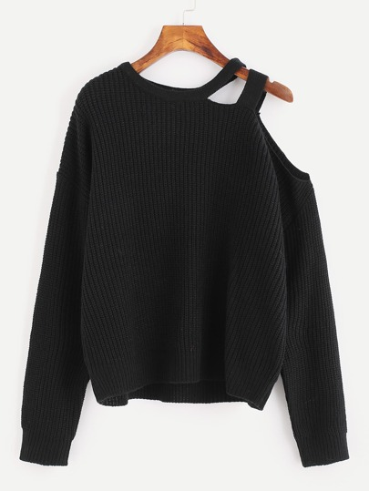 Ein-Schulter Pullover mit Riemendesign