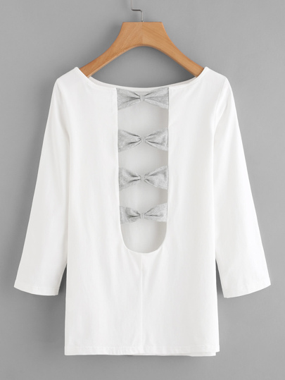 Bow Embellished U Back Tee