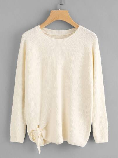 Raglan Sleeve Tie Detail Textured Sweater