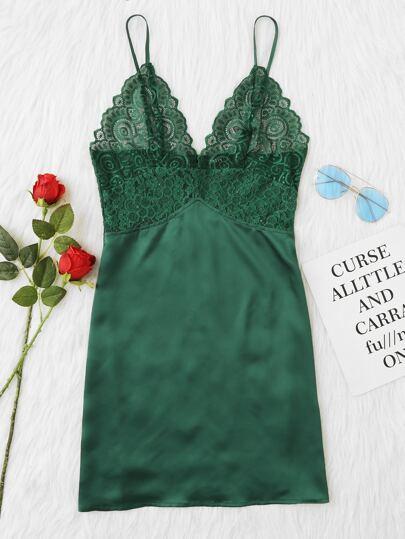Scalloped Lace Panel Cami Nightdress