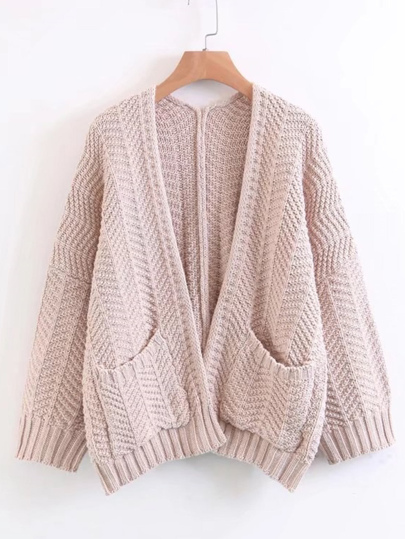 Open Front Drop Shoulder Sweater Coat