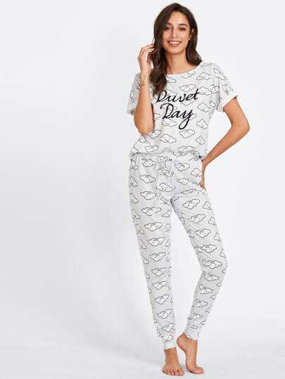 Ensemble de Pyjama Tee imprimé nuage & Pantalons