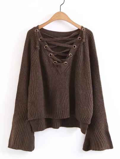 Pullover mit Band, V-Ausschnitt und abfallendem Saum