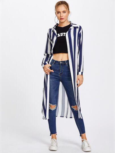 Wide Striped Side Split Long Shirt