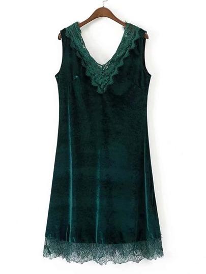 Double V Cut Lace Trim Velvet Dress