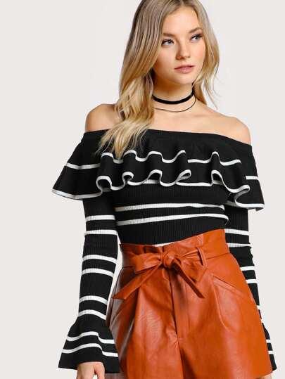 Off Shoulder Striped Long Sleeve Top BLACK