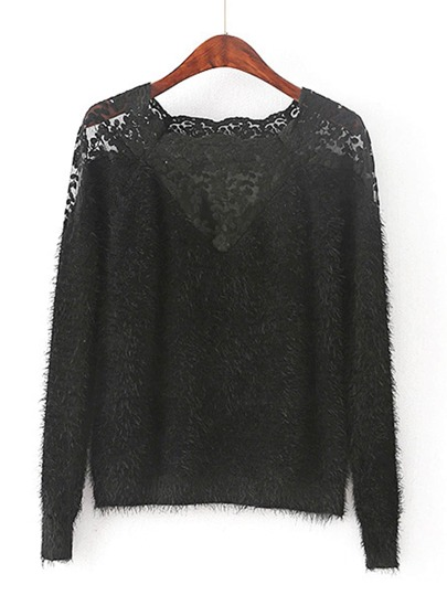 Lace Insert Raglan Sleeve Mohair Sweater
