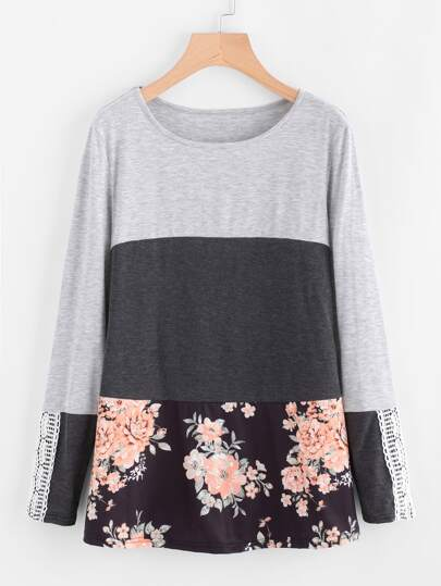 Contrast Floral Print Color Block Tee