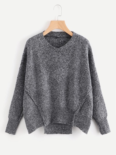 Cut Out Hem Drop Shoulder Sweater