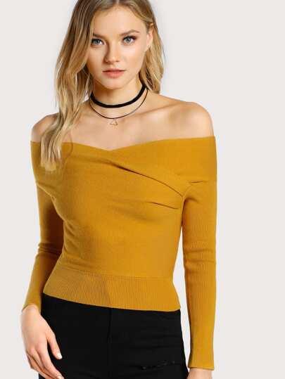 Off Shoulder Long Sleeve Crop Top MUSTARD