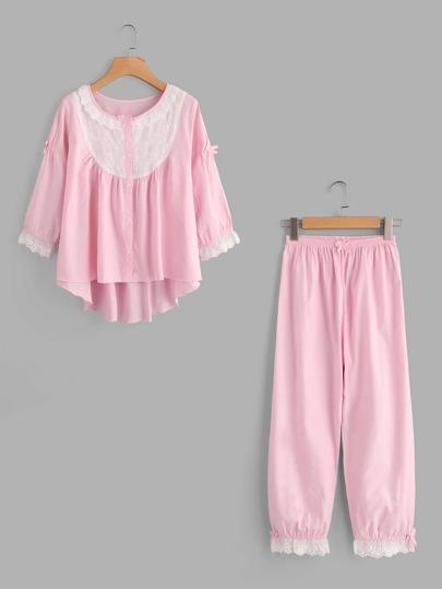 Sets de pijama larga con encaje bordada en contraste