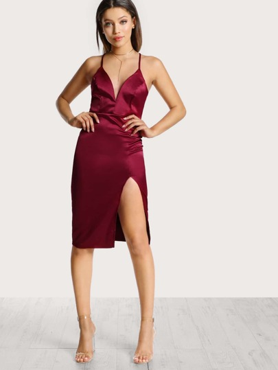 Plunging Neckline Satin Bodycon Dress BURGUNDY